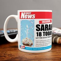 Personalised Mug - 18 Birthday News - Cutlery Gifts
