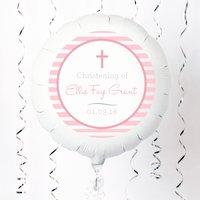 Personalised Large Helium Balloon - Christening, Pink Stripe