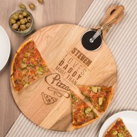 Personalised Pizza Board With Cutter - Loves Daddy More Than Pizza - Pizza Gifts