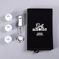 Golf Gift Set With Personalised Towel - Golfaholic - Golf Gifts