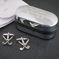 Golf Club Cufflinks In Personalised Box - Cufflinks Gifts