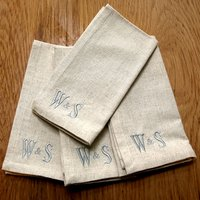 Image of Personalised Natural Set Of 4 Napkins