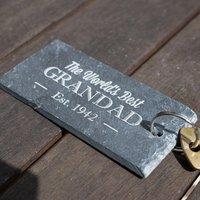 Engraved Slate Key Ring - World's Best Grandad - Key Ring Gifts