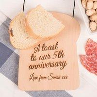 Personalised Bread Slice Board - 5th Anniversary