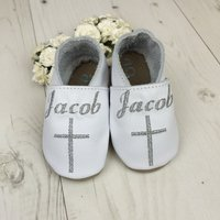Personalised Cross Christening Baby Shoes