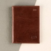 Embossed Prato Italian Leather Passport Holder - Italian Gifts