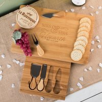 Personalised Large Rectangular Wooden Cheeseboard - Mrs and Mrs