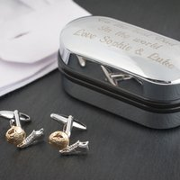 Football Boot Cufflinks In Personalised Box - Football Gifts