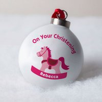 Personalised Bone China Bauble - Pink Christening Toy Horse - Horse Gifts
