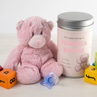Personalised Teddy In A Tin - Cute Baby Girl - Baby Girl Gifts