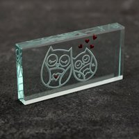 Spaceform Landscape Glass Token - Hearts & Owls - Owls Gifts