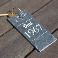 Engraved Slate Key Ring - Name & Year - Key Ring Gifts