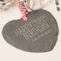 Engraved Heart Shaped Slate Hanging Keepsake - Happy 40th Birthday