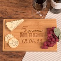 Personalised Bamboo Wine and Cheese Set - 5 Years As Mr Right