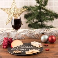 Personalised Circular Slate Cheese Board - Christmas Family - Cheese Board Gifts
