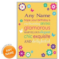 Personalised Birthday Card - Yellow Floral Design - Design Gifts