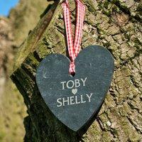 Personalised Heart-Shaped Slate Hanging Keepsake - Couple's Heart - Keepsake Gifts