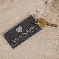 Engraved Slate Key Ring - Best Ever Mum - Key Ring Gifts