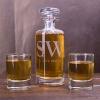 Engraved Decanter & Shot Glass Set - Initials - Shot Glass Gifts