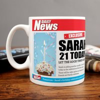 Personalised Mug - 21 Birthday News - Cutlery Gifts