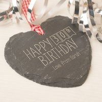 Engraved Heart Shaped Slate Hanging Keepsake - Happy 30th Birthday - 30th Gifts