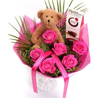 Image of Personalised Pink Rose Bouquet With Teddy & Chocolates