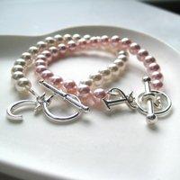 Personalised Swarovski Pearl Children's Bracelet - Initial & Charm - Charm Gifts