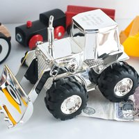 Personalised Digger Silver-Plated Money Box - Money Box Gifts