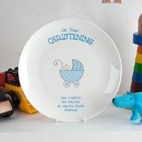 Personalised Bone China Plate - Blue Christening Pram
