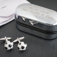 Football Cufflinks In Personalised Box - Football Gifts