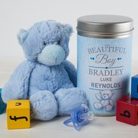 Personalised Teddy In A Tin - Beautiful Baby Boy - Baby Boy Gifts