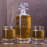 Engraved Decanter & Shot Glass Set - Worlds Best - Shot Glass Gifts