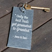 Engraved Slate Key Ring - The Best Dads Get Promoted - Key Ring Gifts