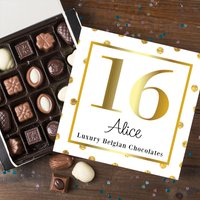 Personalised Belgian Chocolates - 16th Gold - 16th Gifts