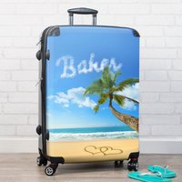 Personalised Suitcase - Palm Tree Beach - Beach Gifts