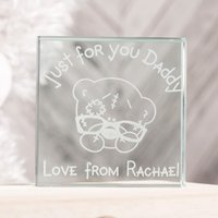 Personalised Me To You Glass Token - Just For You Daddy - Me To You Gifts