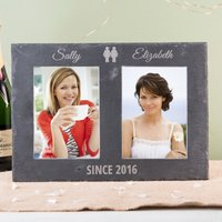 Engraved Double Slate Photo Frame - Hers & Hers
