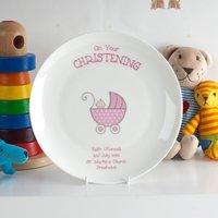 Personalised Bone China Plate - Pink Christening Pram - Christening Gifts