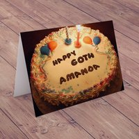 Personalised Birthday Card - Happy 60th Birthday Cake - 60th Birthday Gifts