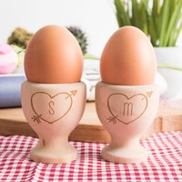 Image of Personalised Wooden Egg Cups - Love Hearts