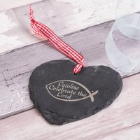Engraved Heart-Shaped Slate Hanging Keepsake – Celebrate