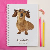 Personalised Notebook - Cute Dog with Glasses - Dog Gifts