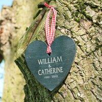 Personalised Anniversary Heart Shaped Slate Hanging Keepsake - Keepsake Gifts