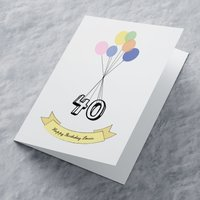 Personalised Card - Balloons 40 - Balloons Gifts
