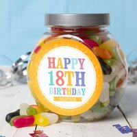 Personalised Jelly Beans Jar - Happy 18th - 18th Gifts