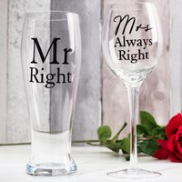 Wine & Pint Glass Set - Mr Right & Mrs Always Right