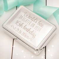 Engraved Silver Rectangular Beaded Jewellery Box - 16th Birthday, Daughter - 16th Birthday Gifts
