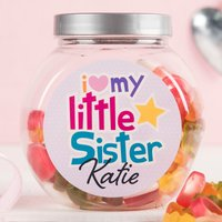 Personalised Haribo Sweet Jar - Little Sister - Sister Gifts