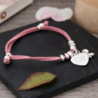Engraved Suede Bracelet With Heart & Butterfly - Choose From 3 Colours - Colours Gifts