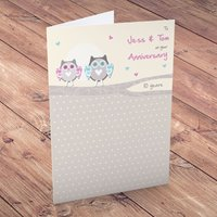 Personalised Card - Anniversary Owls - Owls Gifts